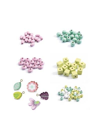 Perlas de madera - Hojas y flores