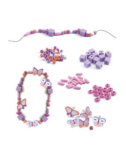 Perlas de madera - Mariposas