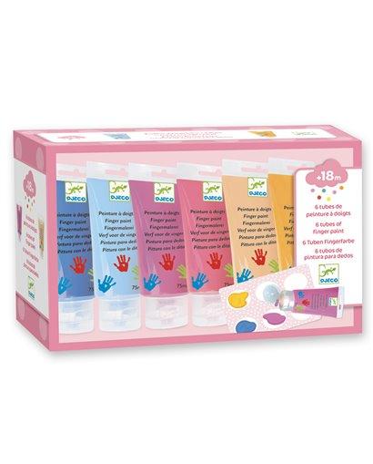 Colores - Pintura de dedos  -6 tubos - sweet